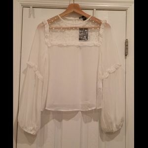 Sheer White Blouse with Stars